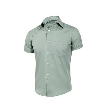MURANO 男款休閒斜紋短袖素色襯衫 - 淺綠(L)