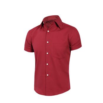 MURANO 男款休閒斜紋短袖素色襯衫 - 深紅(L)