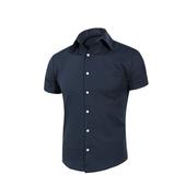 《MURANO》男款休閒斜紋短袖素色襯衫 - 深藍(L)