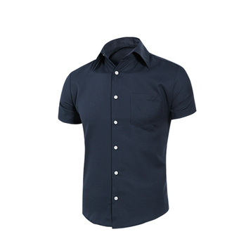 MURANO 男款休閒斜紋短袖素色襯衫 - 深藍(L)
