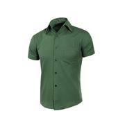 《MURANO》男款休閒斜紋短袖素色襯衫 - 深綠(L)