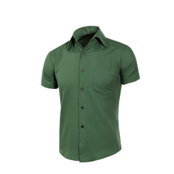MURANO 男款休閒斜紋短袖素色襯衫 - 深綠(L)