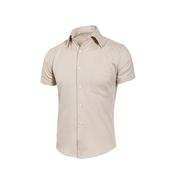 《MURANO》男款休閒斜紋短袖素色襯衫 - 米(L)