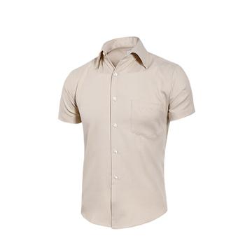 MURANO 男款休閒斜紋短袖素色襯衫 - 米(L)