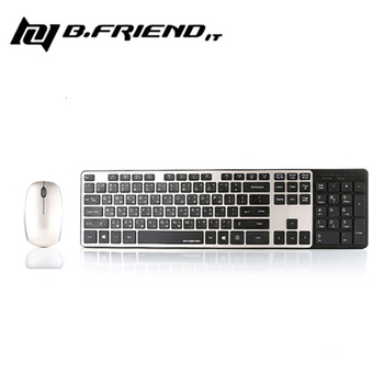 B.Friend BR1430 多媒體無線鍵盤滑鼠組(黑金)