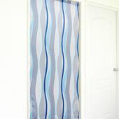 《布安於室》曲線條紋長門簾-灰藍
