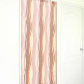 《布安於室》曲線條紋長門簾-橘粉