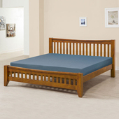 《Homelike》里恩床架組-雙人加大6尺(不含床墊)(淺胡桃色)