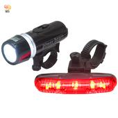 《月陽MB》自行車超亮5LED貓眼前燈頭燈防水3段長尾燈組(FY201)