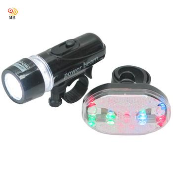 《月陽MB》自行車超亮5LED貓眼前燈頭燈防水7段7彩9LED尾燈組(HY208)