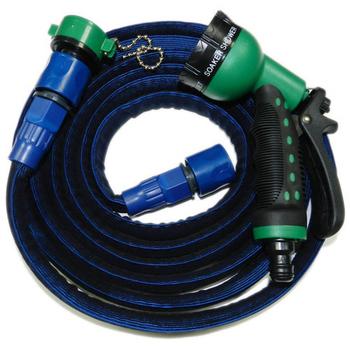 ★結帳現折★金德恩 高彈力防爆型7.5米伸縮水管(深藍)-贈八段式水槍+卡榫式水龍接頭-台灣製造-專利設計有保固