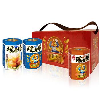 《【幸福小胖】》海洋王宮尊爵禮盒(原味1盒(瑤柱燒x2+小卷x1/盒))