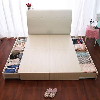 契斯特 超大容量雙邊抽屜床居家組(四大空格-單人/兩色)+法蘭絨日式床墊(單人加大-布魯鄉村)+小碎花手提包(英倫白)