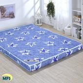 《戀香》高透氣鋪棉兩折雙人床墊(三色可選)(楓葉藍)