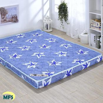 戀香 高透氣鋪棉兩折雙人加大床墊(三色可選)(楓葉藍)
