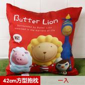 《奶油獅》總動員系列~台灣製造~專利全彩立體印刷方形抱枕(一入)(紅)