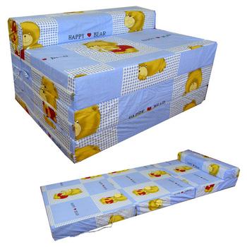 快樂小熊 坐高30床長200公分-四折式沙發床/沙發椅(藍色)(藍色)