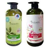 《AiLeiYi》天然修護洗髮精-清新綠茶+天然潤膚沐浴精-玫瑰花香1000ml