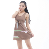 《【BICH LOAN】》泡湯/SPA專用大尺碼連身裙泳裝附泳帽C98203(XL)