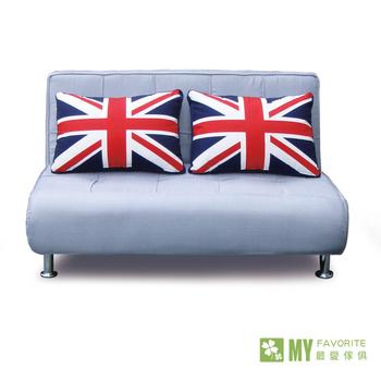 最愛傢俱 英倫風情雙人兩用沙發床(銀灰色)