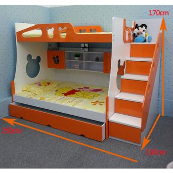 SOYA首雅傢俬 熊寶寶 三層床 上下舖 床架 (含梯櫃、子床一大抽款)(白/橘色)
