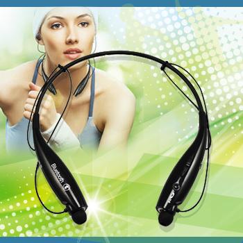無線藍芽耳機 頸戴磁吸式 運動款立體耳機(粉藍)