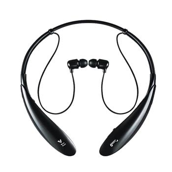 頸掛式無線藍芽耳機 人體工學設計 立體聲耳機(黑)