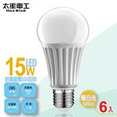 《太星電工》LED燈泡E27/15W/(6入)(暖白光-A615L*6)