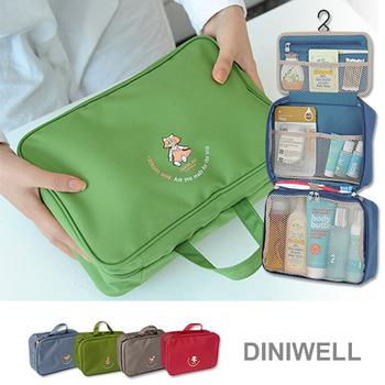韓版 DINIWELL防水多層加大容量手提掛勾款盥洗包(2入)(綠色+灰色)