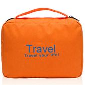 《韓版》多功能防水牛津布盥洗包(橘色)懸掛式多用途網格收納袋