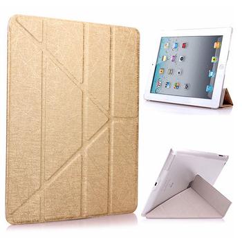 Apple iPad 2/3/4 Y折式側翻皮套(附保貼)(金色)