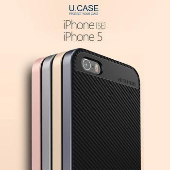 U.CASE APPLE iPhone SE 5 5S 保護殼 金屬色邊框 手機殼(金色)