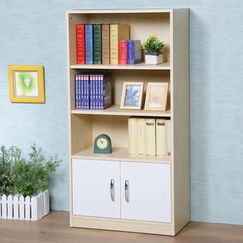 《Homelike》清新森林雙門三格書櫃(楓木+白色)