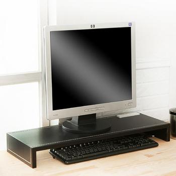 澄境 經典加長型皮革附插座桌上螢幕架(經典黑)