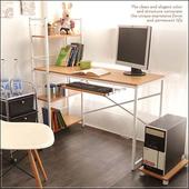 《澄境》粉彩層架附鍵盤電腦工作桌(暖櫸木)