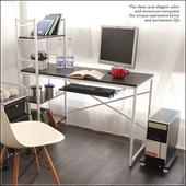 《澄境》粉彩層架附鍵盤電腦工作桌(木紋黑)
