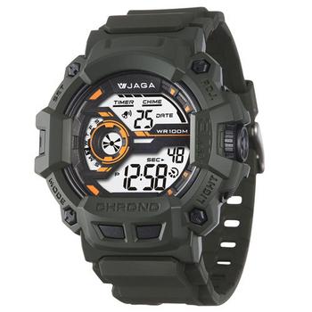 JAGA 捷卡 粗礦豪邁多功能電子錶(綠) M1105-F