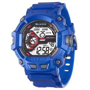 JAGA 捷卡 粗礦豪邁多功能電子錶(藍) M1105-E