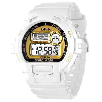 JAGA 捷卡 blink 陽光炫麗多功能運動電子錶(白金) M886-DL