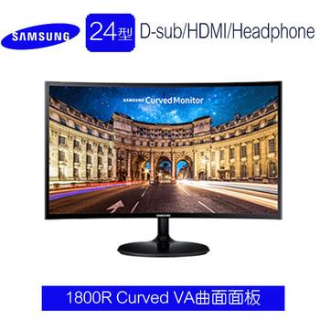 SAMSUNG三星 C24F390FHE 24型VA曲面低藍光不閃頻液晶螢幕