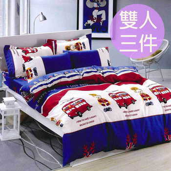 三浦太郎 超親膚天鵝絲絨雙人床包三件套/14款任選(雙人/英倫卡通)