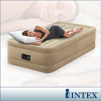 INTEX 超厚絨豪華單人加大充氣床-寬99cm (內建電動幫浦)fiber-tech新型(64455)