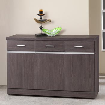 《Homelike》班德4尺收納餐櫃(胡桃木紋)