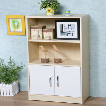 Homelike 清新森林雙門二格書櫃(楓木+白色)