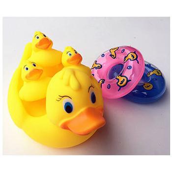 幼兒洗澡戲水動物親子組玩具(共三款 )(黃小鴉泳圈)