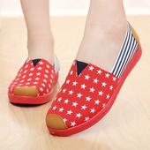 《Alice韓系館》【預購】幸運驚喜星星撞條圖騰休閒鞋(紅36)