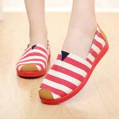 《Alice韓系館》【預購】春意盎然條紋好穿休閒鞋(紅36)