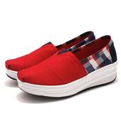 《Alice韓系館》【預購】英倫格子休閒紓壓款健走鞋(紅36)
