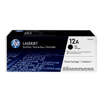 《HP》原廠黑色碳粉匣雙包裝 Q2612AD 適用 LJ 1010/1012/1015/1018/1020/1022/M1005m(雙包裝)
