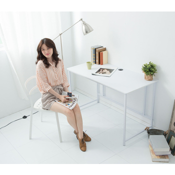 Ashley House 經典120公分ㄇ型工作桌/電腦桌(附電線孔蓋)(白色)
